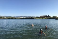 Swimming at East Gallatin Recreation Area in Bozeman Pond. Summer 2020